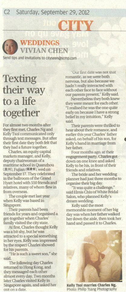 247669 406020906133401 701370748 n Wedding of Kelly & Charles featured in SCMP & HK Magazine